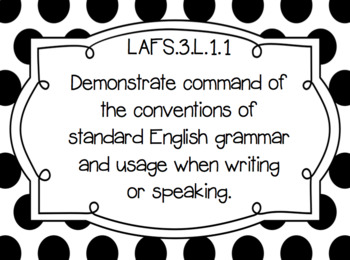 "Grade 3 ELA Florida Standards Posters/ ""I Can"" Statements(Black&White PolkaDots)"