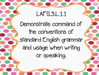 "Grade 3 ELA Florida Standards Posters/ ""I Can"" Statements (Color Polka Dots)"