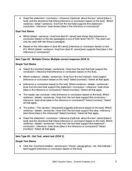 Grade 3 ELA - Reading Question Stems for SBAC