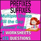ELA Worksheets   Prefixes & Suffixes   Grammar Questions  