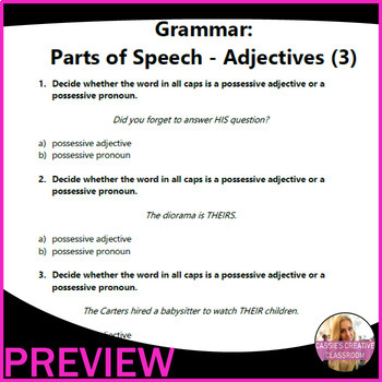 ELA Worksheets | Parts of Speech | Adjectives | Grade 3 Test Prep