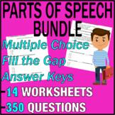 ELA Worksheets   Parts of Speech Bundle   Grammar Question