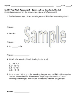Grade 3 End of Year Math Assessment