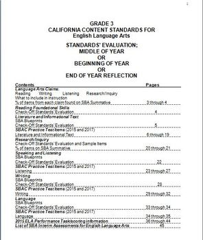 Grade 3 English Language Arts, CA Content Standards (CCS), Midyear Evaluation