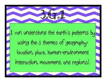 """Grade 3 Essential Standards """"I Can"""" Posters - Social Studies"""