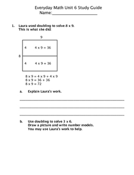 Grade 3 Everyday Math (2015) Unit 6: Operations Study Guide/Pretest