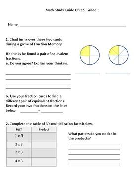 Grade 3 Everyday Math, Unit 5 Assessment (4th Edition)