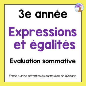 Grade 3 Expressions & Equality Test (French)