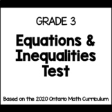 Grade 3 Expressions & Equality Test (Ontario Curriculum)