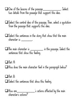 Grade 3 FSA Stem Questions for ELA