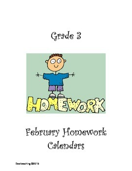 Grade 3 February Homework Calendar
