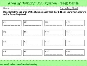 Grade 3-Find Area by Counting Unit Squares-Task Cards (CCSS 3.MD.C6) (TEKS 6c)