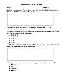 Grade 3 Florida Go Math! Chapter 4 Mid-Chapter Checkpoint FSA Style Questions