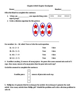 Grade 3 Florida Go Math! Chapter 6 Mid-Chapter Checkpoint ...