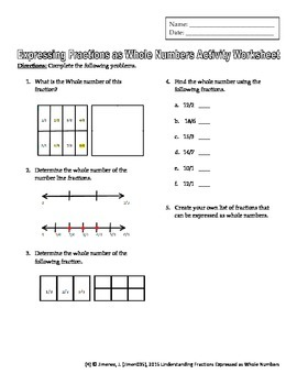 Grade 3 Fractions: Understinding WHOLE Numbers expressed as Fractions