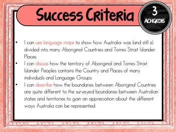 Grade 3 Geography – Aus curric Learning Goals & Success Criteria Posters