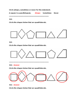 Grade 3 Geometry Pre and Post Assessment Bank