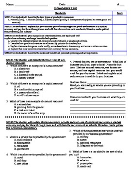 Grade 3 Georgia Performance Standards Economics Assessment