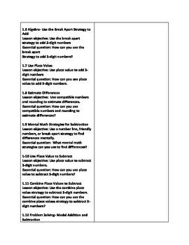 Grade 3 Go Math Chapter 1 Curriculum Map