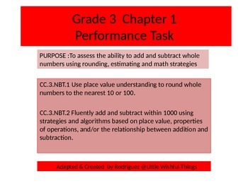 Third Grade  Chapter 1 Math Performance task