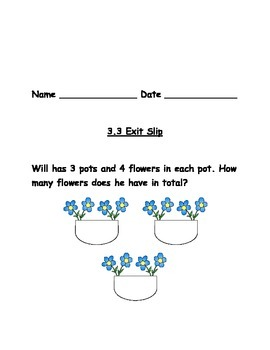 Grade 3 Go Math Exit Slips Chapter 3