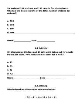 Grade 3 Go Math Exit Slips for Chapters 1-12