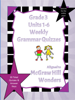 Grade 3- Grammar Quizzes  Aligned to McGraw-Hill Wonders Program- Editable