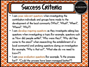 Grade 3 HASS – Aus curric Learning INTENTIONS & Success Criteria Posters.