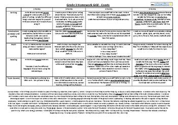 Grade 3 Homework Grid (writing, SPAG, maths, reading and topic - coasts)