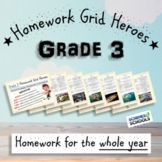 Grade 3 Homework Grids - Yearly Pack