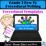 Grade 3 How-To Procedural Writing, Community Theme Includes Prompts & Resources