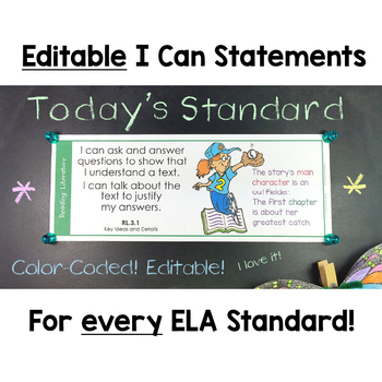 Common Core Standards I Can Statements for 3rd Grade ELA - Half Page