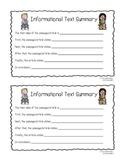 Grade 3: Informational Text Summary Sentence Frame