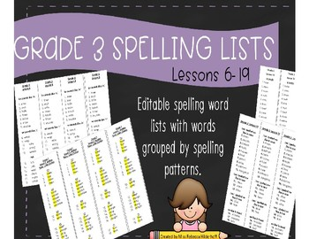 Grade 3 Journeys 2017 Spelling Lists Lessons 6-19