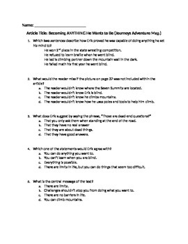 Grade 3 Journeys - Becoming Anything He Wants to Be FSA-Prep Questions-Editable