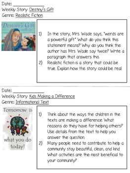 Grade 3 Journeys Unit 1 Written Repsonses