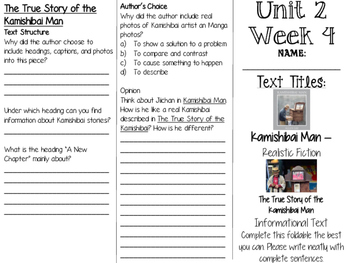 Grade 3 Journeys Unit 2 Week 9 Tri-fold