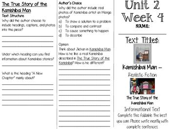 Grade 3 Journeys Unit 2 Week 9 Tri-fold