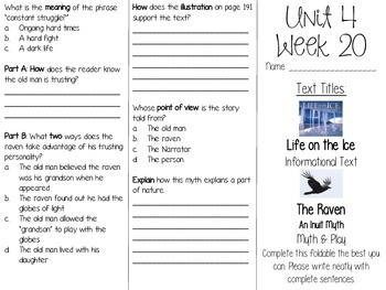 Grade 3 Journeys Unit 4 Week 20 Tri-fold