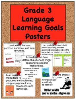 Grade 3 Language Learning Goals Posters - 90 pages