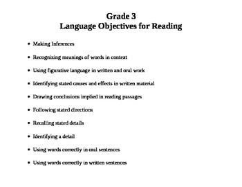 Grade 3 Language Objectives