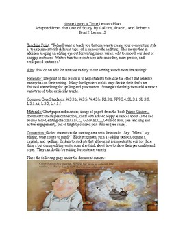 Grade 3 Lesson Plan 12 Once Upon a Time: Adapting and Writ