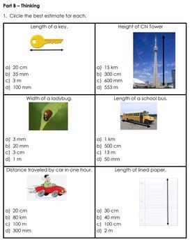 Grade 3 Linear Measurement, Area and Perimeter Assessment