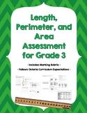 Grade 3 Linear Measurement, Perimeter, and Area Assessment