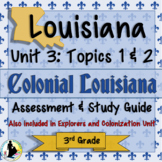 Grade 3 Louisiana History: Explorers and Colonization Test and Study Guide