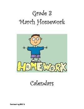 Grade 3 March Homework Calendar