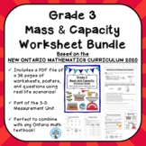 Grade 3 Mass and Capacity Worksheet Bundle ONTARIO MATHEMA