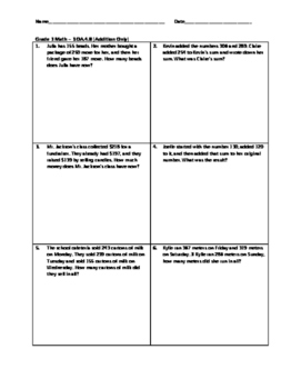 Grade 3 Math Analysis - 3.OA.4.8 [Addition Only]