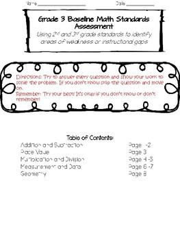 Grade 3 Math Baseline Assessment with Standards