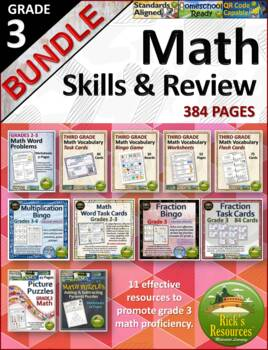 3rd Grade Math Skills Practice and Review Bundle